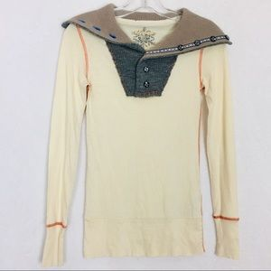 Free People Cream Henley Style Size Small